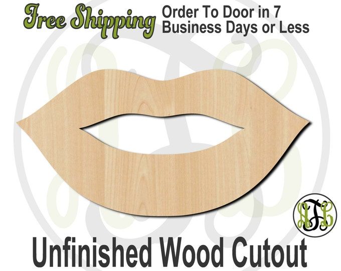 Lips 4 - 24504- Cutout, unfinished, wood cutout, wood craft, laser cut shape, wood cut out, Door Hanger, wooden, ready to paint