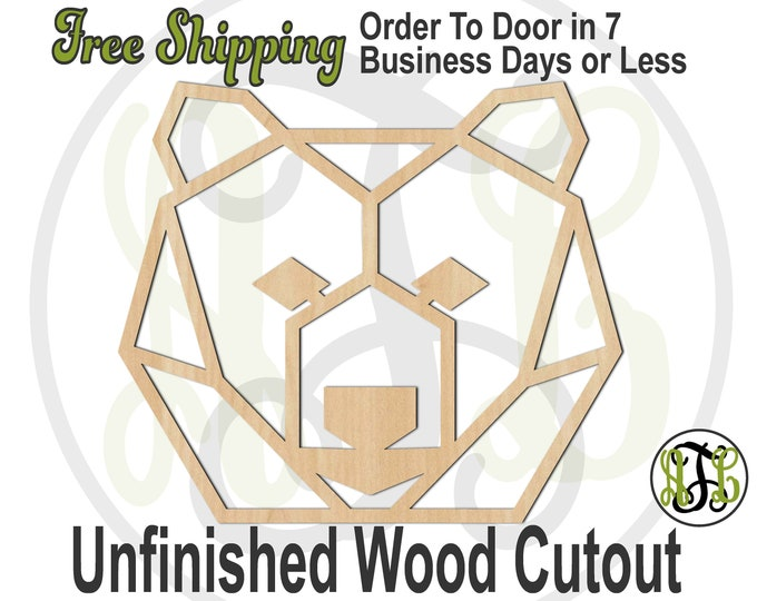 Geometric Bear Head- 480005- Animal Cutout, unfinished, wood cutout, wood art, laser cut shape, wood cut out, Door Hanger, wooden, DIY