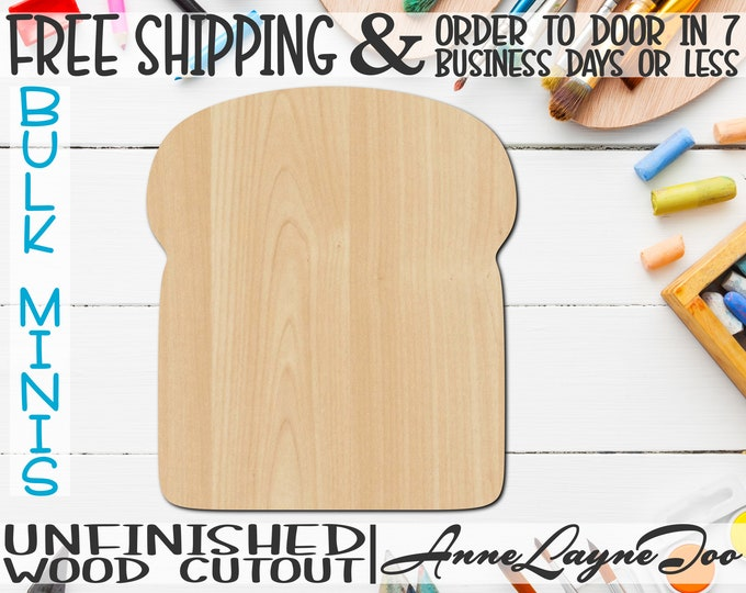 """Bread- 2"""" to 6"""" Minis, Small Wood Cutout, unfinished, wood cutout, wood craft, laser cut shape, wood cut out, ornament -300062"""
