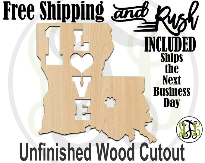 Louisiana 1 Love- 60128- Cutout, unfinished, wood cutout,  laser cut shape, Door Hanger, wall art - RUSH PRODUCTION