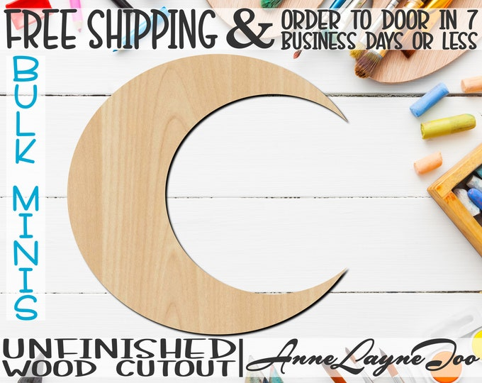 "Crescent Moon, 1"" to 6"" Minis- Small Wood Cutout, unfinished, wood cutout, wood craft, laser cut shape out, wood cut out, ornament -300167"