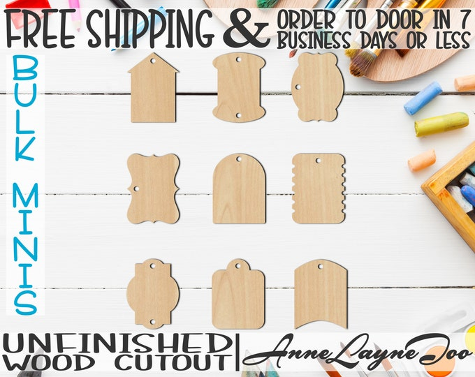 "Medium Gift Tags- 2"" to 6"" Minis, Small Wood Cutout, unfinished, wood cutout, wood craft, laser cut, wood cut out, ornament -3100113-121"