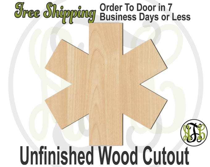Star of Life Medical Wood Cutout, Star of Life Door Hanger, wood cut out, wooden, wall art, laser cut, unfinished wood cutout - 300176