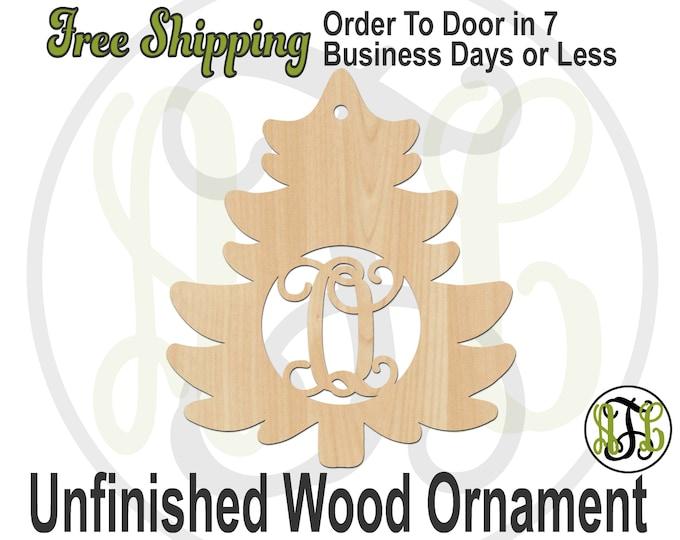 Ornament Christmas Tree Monogram, Rustic Unfinished Ornament, wood cutout, laser cut,  Car Charm, wooden gift, Wooden Keepsake -189001M1-BO