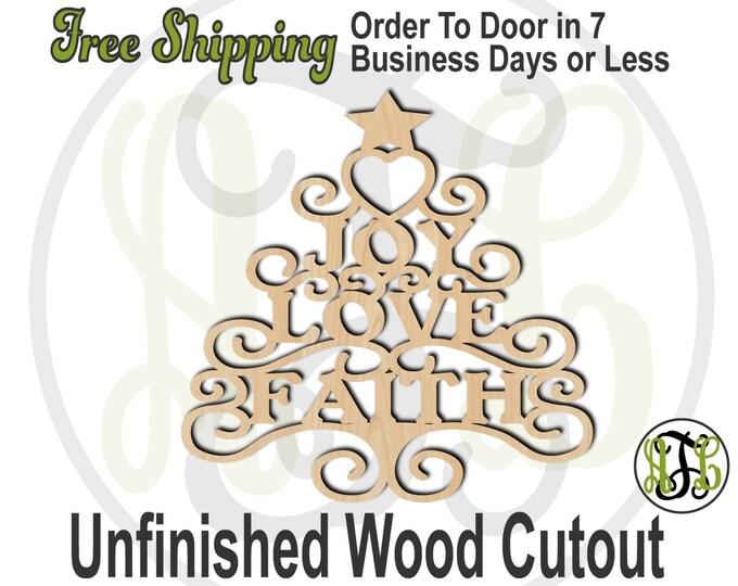 Joy Love Faith - 180202- Christmas Cutout, unfinished, wood cutout, wood craft, laser cut shape, wood cut out, Door Hanger, wooden, wall art
