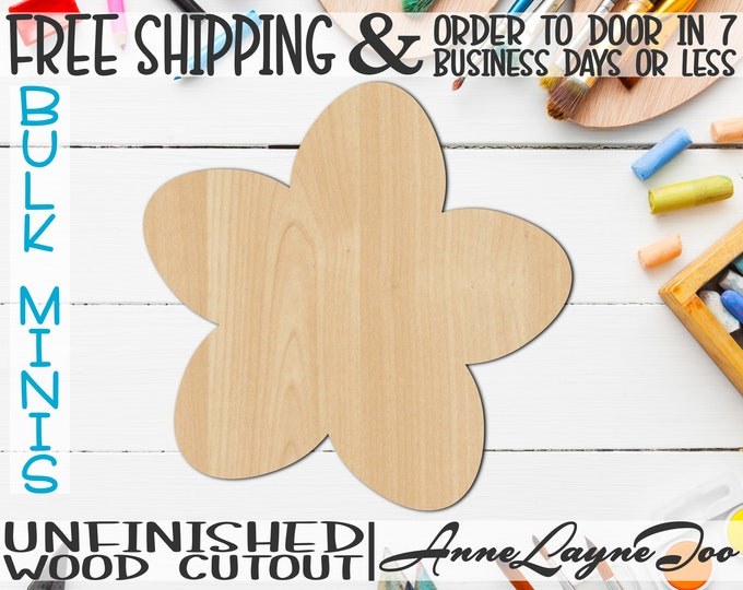 """Chery Blossom- 1"""" to 6"""" Minis, Small Wood Cutout, unfinished, wood cutout, wood craft, laser cut, wood cut out, ornament -300070"""