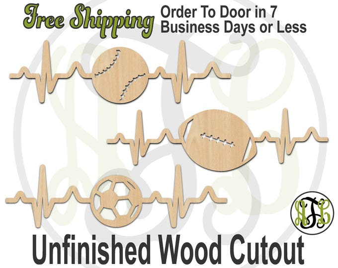Heartbeat for Baseball Football or Soccer - 60034-36- Sports Cutout, unfinished, wood cutout, wood craft, laser cut shape, wood cut out