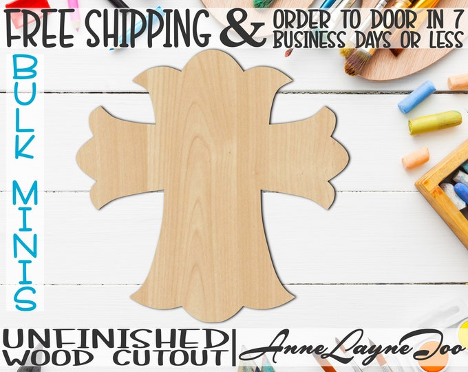 """Cross 1- 2"""" to 6"""" Minis, Small Wood Cutout, unfinished, wood cutout, wood craft, laser cut shape, wood cut out, ornament -29001"""