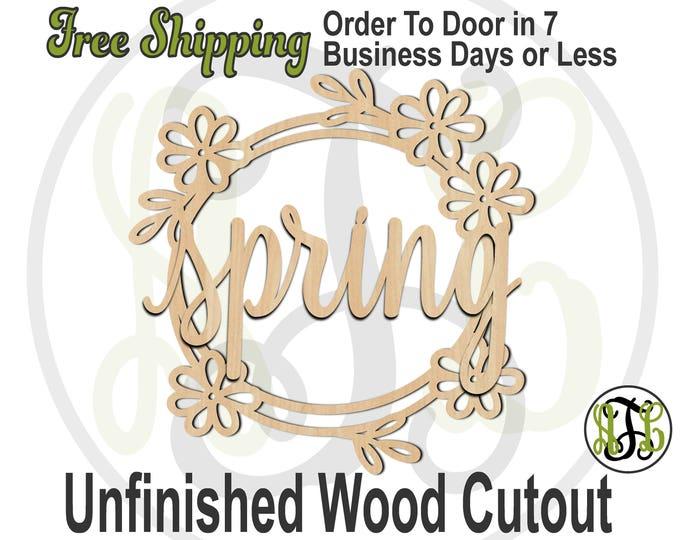 Spring with Floral Wreath, 300161-15 thru 30, laser cut wood cutout, Door Hanger, Door Sign, wooden sign, wall art