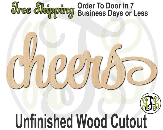 cheers - 320014SSt- Word Cutout, unfinished, wood cutout, wood craft, laser cut wood, wood cut out, Door Hanger, wooden sign, wall art
