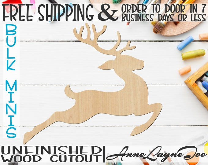 """Flying Reindeer, 4"""" to 6"""" Minis, Small Wood Cutout, unfinished, wood cutout, wood craft, laser cut, wood cut , ornament -180043"""