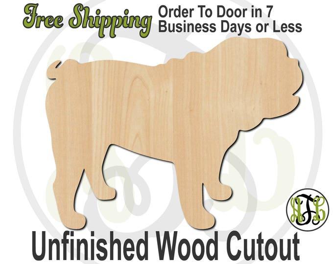 Bulldog - 230077- Animal Cutout, unfinished, wood cutout, wood craft, laser cut shape, wood cut out, Door Hanger, Dog, wooden, blank