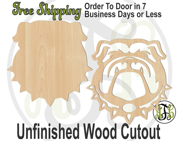 Bulldog Head Solid or Outline- 60197-96- Mascot Head Cutout, unfinished, wood cutout, wood craft, laser cut shape, wood cut out, wooden