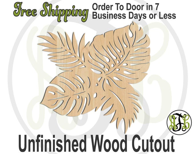 Tropical Foliage - 300172- Nature Cutout, unfinished, wood cutout, wood craft, laser cut shape out, wood cut out, Door Hanger, Luau, wooden