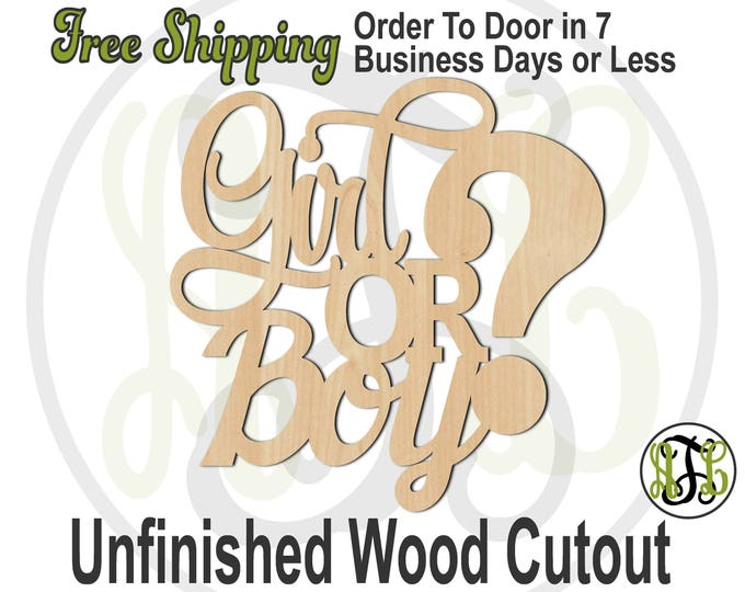 Girl OR Boy? - 325064- Reveal Cutout, unfinished, wood cutout, wood craft, laser cut out, wood cut out, Door Hanger, baby shower, wall art