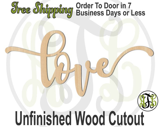 love 2 - 320294FrFt- Word Cutout, unfinished, wood cutout, wood craft, laser cut wood, wood cut out, Door Hanger, wood cut out, wooden sign