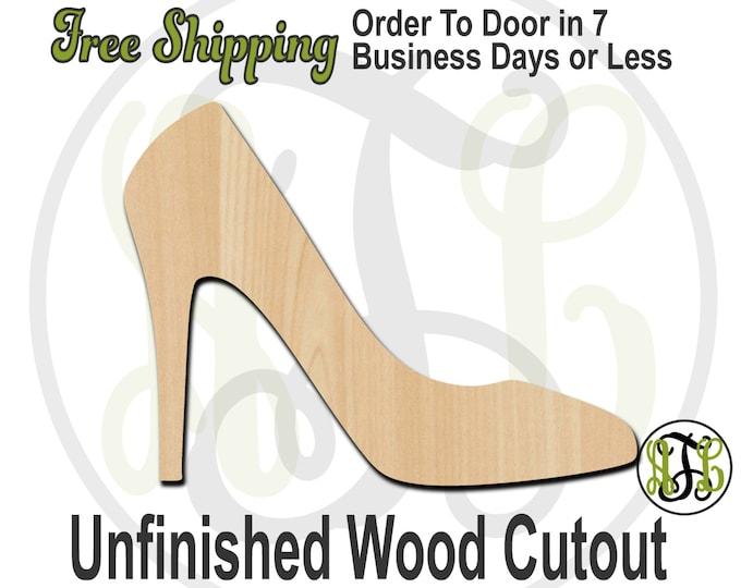 High Heel - 300068- Cutout, unfinished, wood cutout, wood craft, laser cut shape, wood cut out, Door Hanger, Dress Shoe, wooden