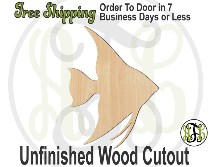 Angelfish - 230093- Fish Cutout, unfinished, wood cutout, wood craft, laser cut shape, wood cut out, Door Hanger, wooden, blank
