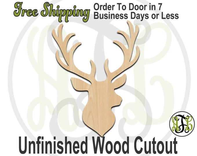 Deer Head - 230062- Animal Cutout, unfinished, wood cutout, wood craft, laser cut shape, wood cut out, Door Hanger, Stag Head, wooden, blank