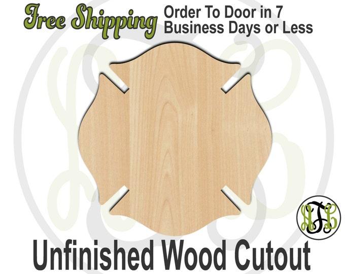Plaque Fireman Badge- 40028- Cutout, unfinished, wood cutout, wood craft, laser cut shape, wood cut out, DIY, Free Shipping