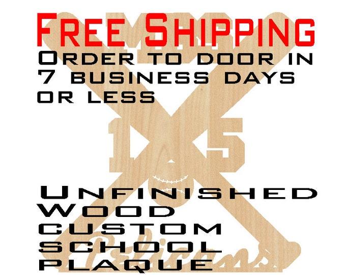 "Unfinished Wood Custom Team Plaque, Free Ship, 15"" to 30"", Wood Craft, laser cut shape, Custom Sport plaque, Baseball, team, wooden"