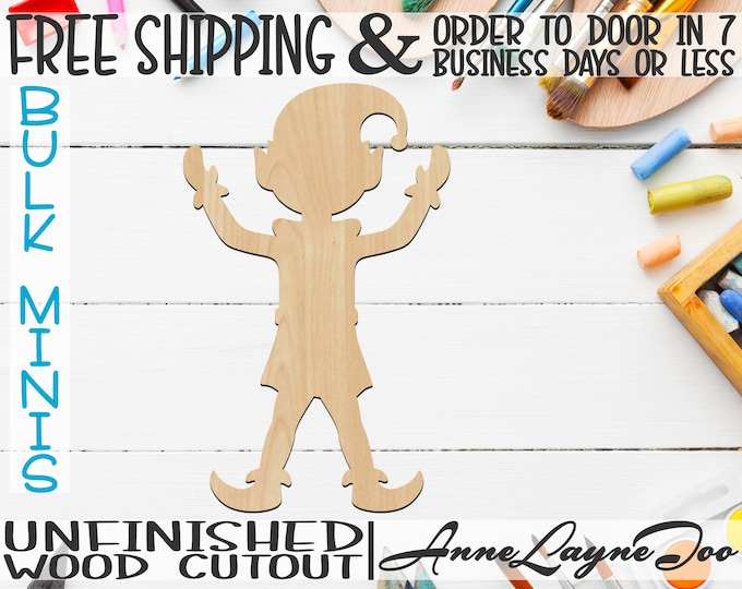 """Elf, 3"""" to 6"""" Minis, Small Wood Cutout, unfinished, wood cutout, wood craft, laser cut, wood cut out, ornament -180039"""