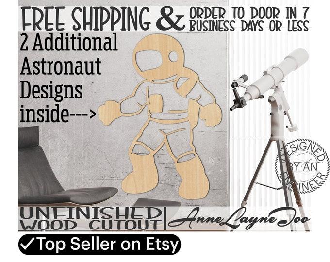 Astronaut Wood Cutout, Spaceman Wall Art, Cosmonaut Door Hanger, wooden space traveler, unfinished wood cut out, laser cut -470012-14