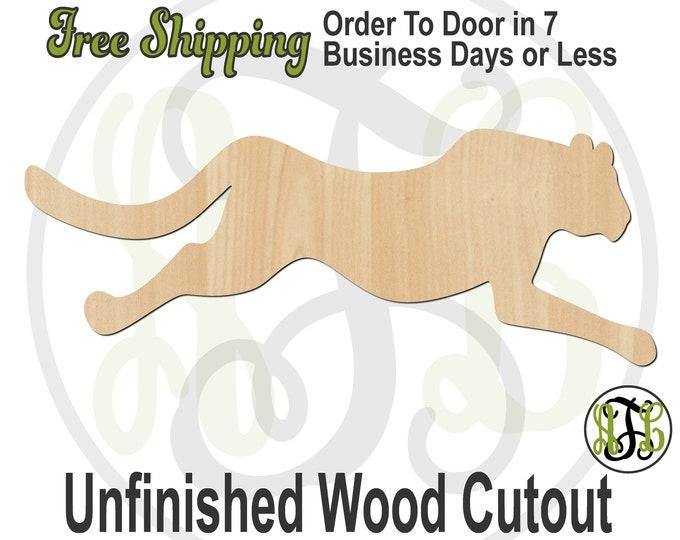 Running Cheetah - 60535- Cat Cutout, unfinished, wood cutout, wood craft, laser cut, Door Hanger, wood cut out, wooden, Fishing, Outdoors
