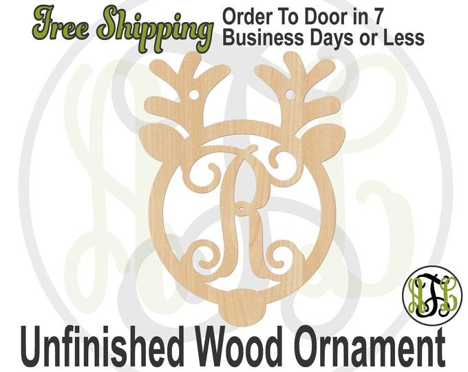 Ornament Reindeer Monogram, Rustic Unfinished Ornament, wood cutout, laser cut wood,  Car Charm, wooden gift, Wooden Keepsake - 189002M1-BO