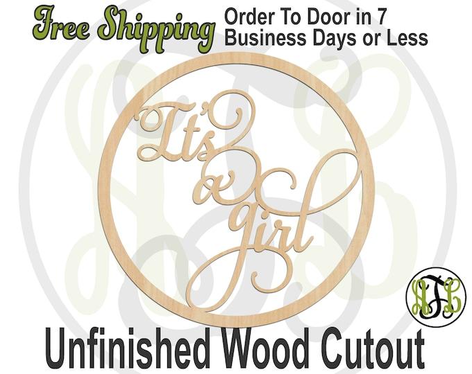 It's a girl in Circle Frame, 325174, Southern Cutout, laser cut wood cutout, Door Hanger, cut out, wooden sign, wall art