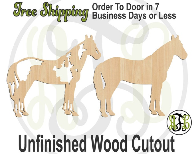 Paint Horse w/ Pattern or Solid - 230166-67- Animal Cutout, unfinished, wood cutout, wood craft, laser cut shape, wood cut out, Door Hanger