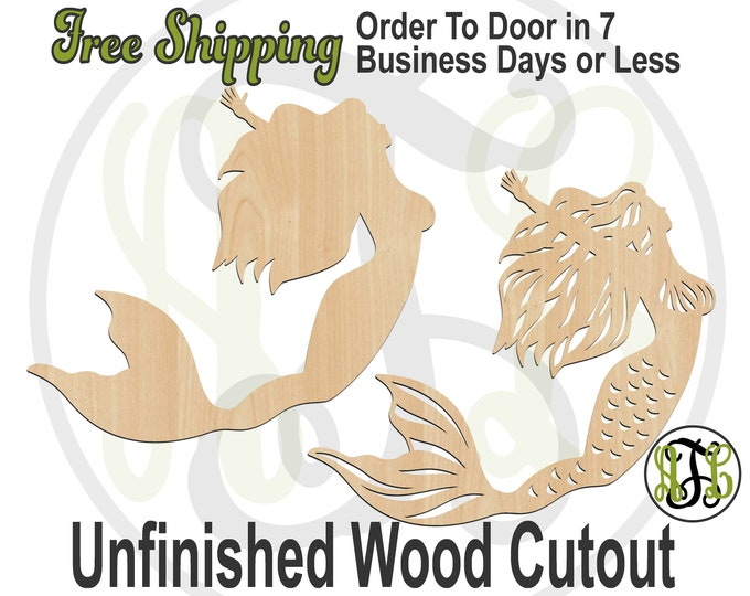 Swimming Mermaid solid or outline-50034-35- Nautical Cutout, unfinished, wood cutout, wood craft, laser cut shape, wood cut out, Door Hanger
