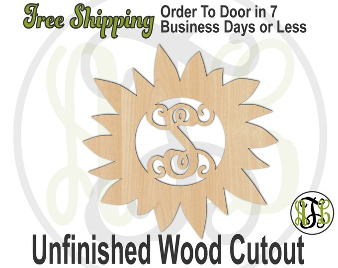 Sunflower Monogram - 210004M1- Personalized Cutout, Initial, unfinished, wood cutout, wood craft, laser cut, wood cut out, wooden