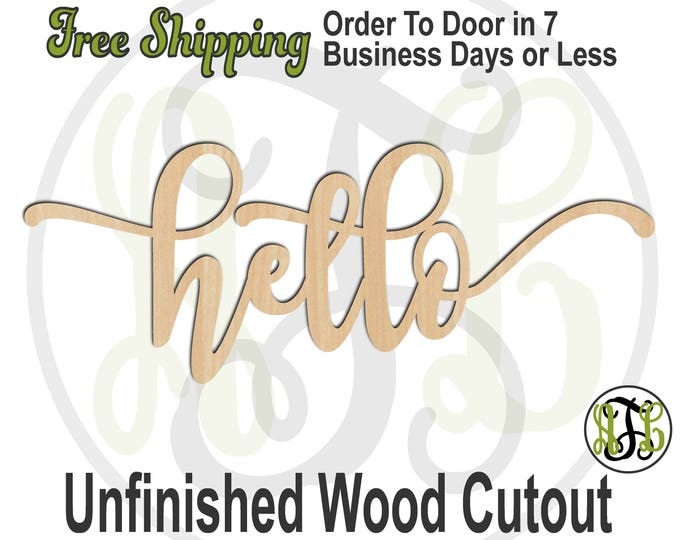 hello 2 - 320292FrFt- Word Cutout, unfinished, wood cutout, wood craft, laser cut wood, wood cut out, Door Hanger, wood cut out, wooden sign
