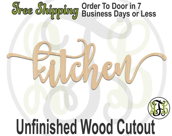 kitchen 2 - 320306FrFt- Word Cutout, unfinished, wood cutout, wood craft, laser cut wood, wood cut out, Door Hanger, wood cut out, wooden