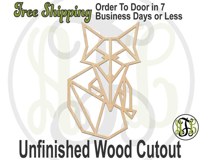 Geometric Fox - 480001- Animal Cutout, unfinished, wood cutout, wood craft, laser cut shape, wood cut out, Door Hanger, DIY, wooden