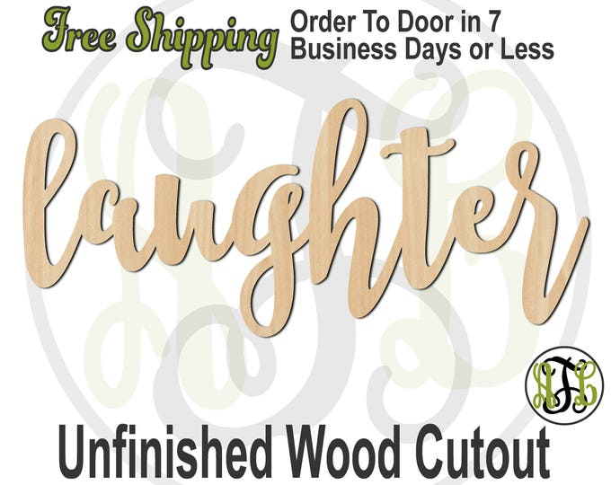 laughter - 320319FrFt- Word Cutout, unfinished, wood cutout, wood craft, laser cut wood, wood cut out, Door Hanger, wooden, wreath accent