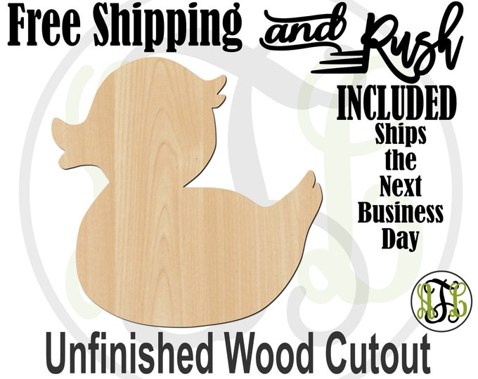 Duck - 230023- Rubber Ducky Cutout, unfinished, wood cutout,  laser wood cutout, Door Hanger, wreath accent - RUSH PRODUCTION