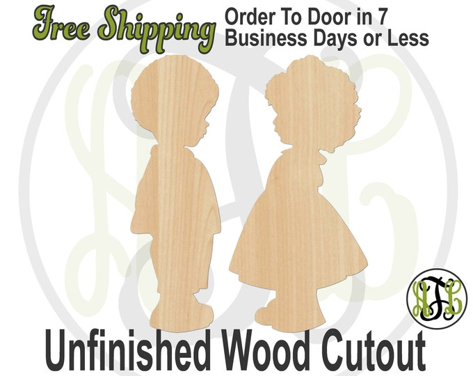Pair of African American Cute Babies Boy and Girl Wood Cutout, wood cut out, Door Hanger, laser cut, unfinished wood cutout- 3300015