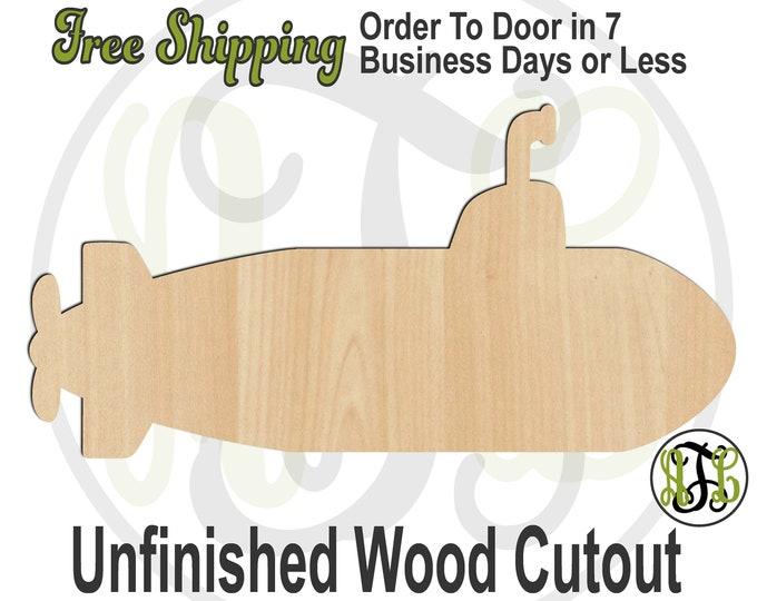 Submarine - 50023- Nautical Cutout, unfinished, wood cutout, wood craft, laser cut shape, wood cut out, Door Hanger, Beach, wooden