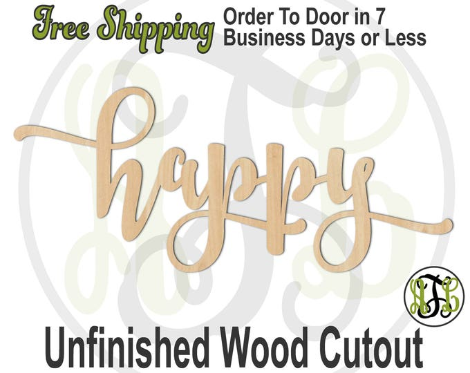 happy 2 - 320324FrFt- Word Cutout, unfinished, wood cutout, wood craft, laser cut wood, wood cut out, Door Hanger, wood cut out, wooden sign