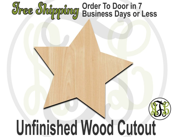 Five Pointed Star- 300143- Christmas Cutout, unfinished, wood cutout, wood craft, laser cut shape, wood cut out, Door Hanger, wooden