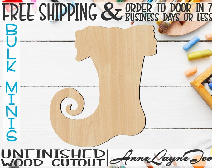 "Whimsical Stocking- 2"" to 6"" Minis, Small Wood Cutout, unfinished, wood cutout, wood craft, laser cut, wood cut -180019"