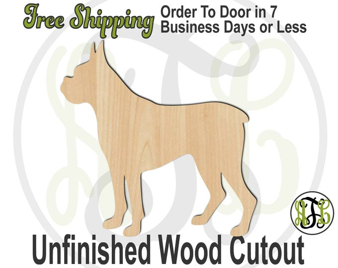 Boxer - 230072- Animal Cutout, unfinished, wood cutout, wood craft, laser cut shape, wood cut out, Door Hanger, Dog, wooden, blank