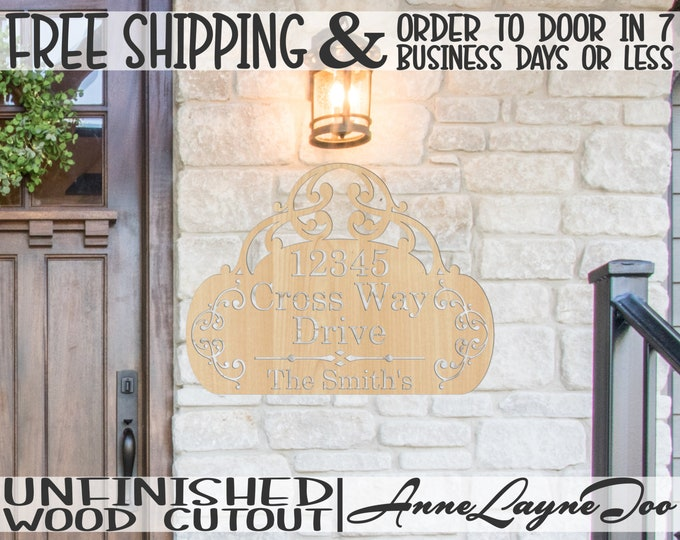 Wedding Scroll Address and Name Plate Wood Cutout, Wooden House Address with Name, unfinished, wood cut out, laser cut -420008ANP