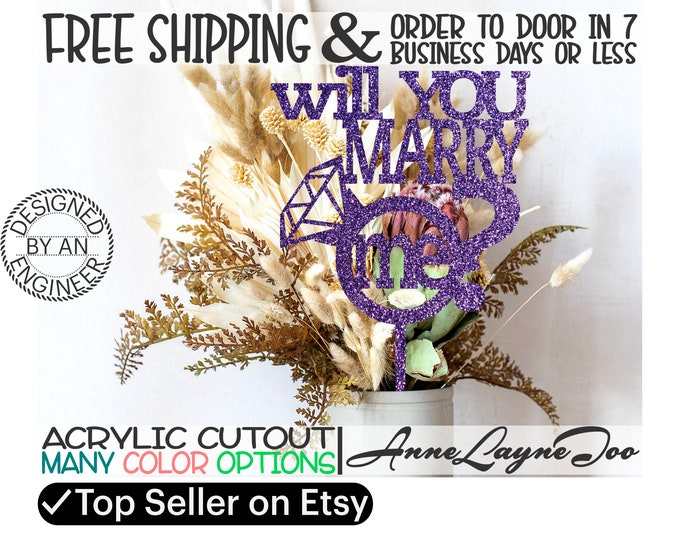 """will you marry me Flower or Cake Topper, Wedding Topper, Anniversary Topper, Engagement, Flower Topper, 1/8"""" Acrylic, laser cut -325011"""