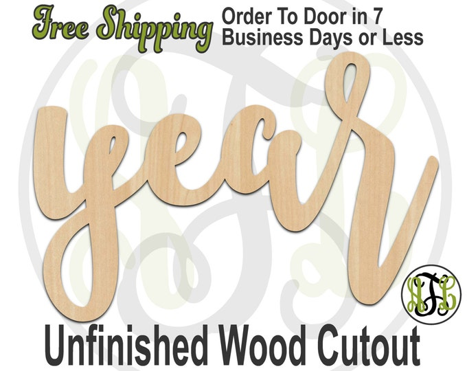 year - 320205FrFt- Word Cutout, unfinished, wood cutout, wood craft, laser cut wood, wood cut out, Door Hanger, wooden sign, wreath accent