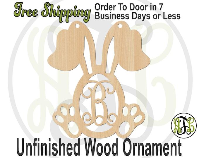 Ornament Bunny Egg Monogram, Rustic Unfinished Ornament, wood cutout, laser cut wood,  Car Charm, wooden gift, Wooden Keepsake - 140028M1-BO
