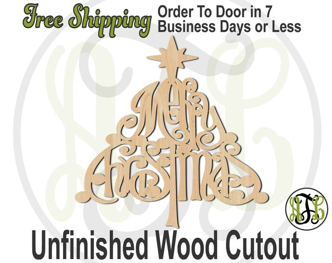 Merry Christmas - 180205- Christmas Cutout, unfinished, wood cutout, wood craft, laser cut shape, wood cut out, Door Hanger, wooden sign