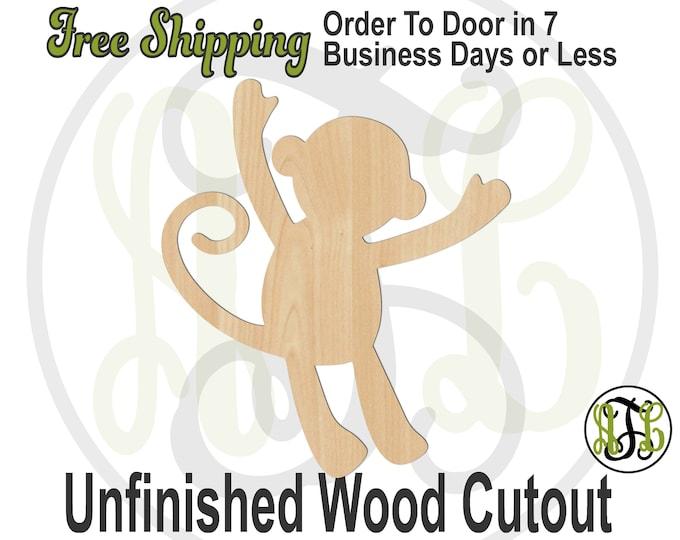 Happy Monkey - 230168- Animal Cutout, unfinished, wood cutout, wood craft, laser cut shape, wood cut out, Door Hanger, wooden, blank